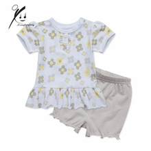 baby girl clothes short sleeve top tee short trousers little floral print clothing set casaco infantil