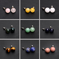 9 Color Round ball Beads Natural Stone Stud Earrings For Women Elegant Fashion Jewelry Brincos Aretes bijoux femme