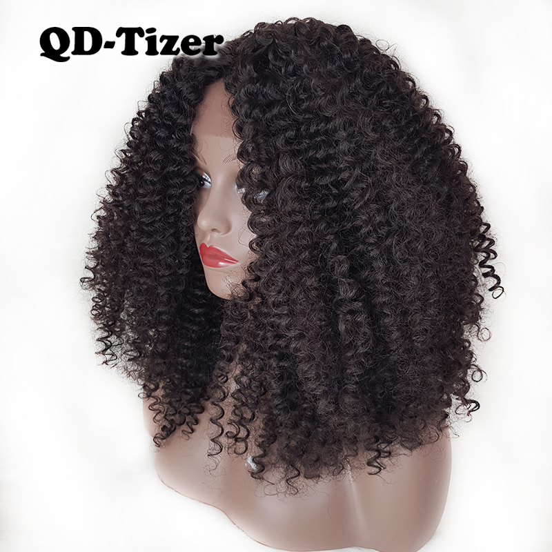 QD-Tizer Afro Curly Hair Synthetic Lace Front Wigs Glueless Kinky Curl Hair Natural Color Lace Front Wigs for Black Women