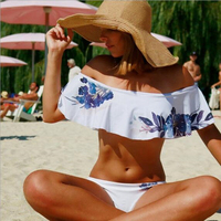 2017 Summer Newest Strapless Crop Top Sexy Push Up Bikinis Set Off Shoulder Print Women Swimwear