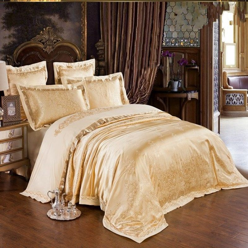 4 6pcs Gold Jacquard Bedding Set Luxury Embroidered Silk