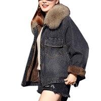Высокое качество Новые джинсовые Меховая куртка с капюшоном 2019 зимняя куртка в Корейском стиле Для женщин Мягкий Пальто из овечьей шерсти д