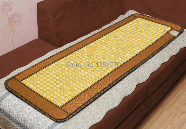 2018 Health Care Mat! heating jade cushion for chair thermal tourmaline massage cushion for old people sleeping 50*150CM 2016 products health care for elderly people natural germanite stone massage bed cover cushion 3 size for you choice