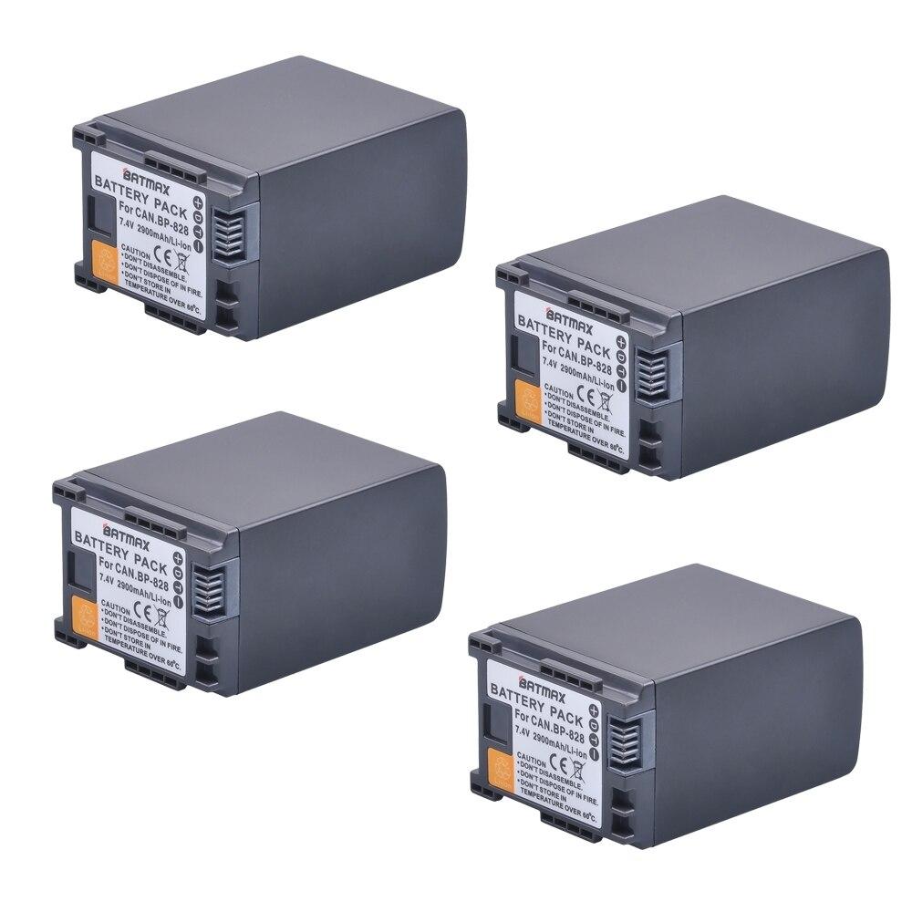 все цены на 4Pcs 7.4V 2900mAh BP-828 Rechargeable Battery BP828 BP 828 Camera Batteries for Canon HF G30 HFG30 XA20 XA25 BP-820