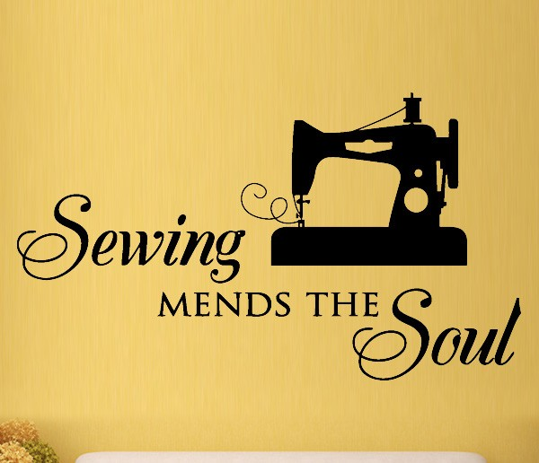 Sewing Mends Soul Vinyl Decal Quote Wall Stickers Home Decor ...