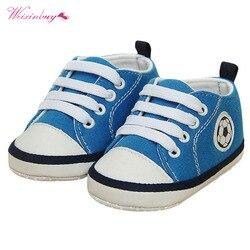Primavera verão da criança do bebê meninas meninos impressão de futebol macio berço sapatos antiderrapantes tênis prewalkers sapatos de pano