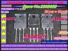 Aoweziic 10 pares 2018 + 100% nuevo importado original TTA1943 TTC5200 A1943 C5200 TO 264 amplificador de alta potencia {origen: Japón}
