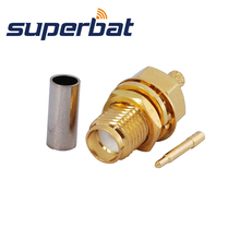 Superbat 10 pces RP SMA crimp fêmea jack (pino masculino) anteparo médio rf conector coaxial para cabo rg174 RG 188A lmr100 rg316
