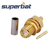 Superbat 10pcs RP SMA Crimp Female Jack(male pin) Bulkhead Medium RF Coaxial Connector for Cable RG174 RG 188A LMR100 RG316