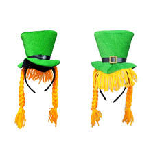 Saint Patrick Kostüm Leprechaun Top Hut mit Zopf Haar-accessoire Kappe Stirnband Irland Clover Party Irish Hüte st patricks tag(China)
