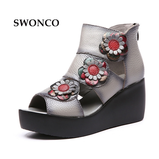 7965cc00db57 SWONCO Women s Sandals 2018 Summer Genuine Leather Ladies Shoes 7cm High  Heels Sandals Women Platform Retro Style Shoes