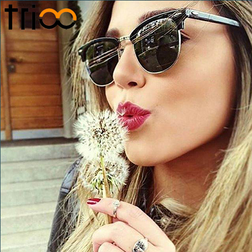TRIOO Polarized Driving Sunglasses Female Classic Polaroid Zonnebril voor dames Mode Semi Rimless Oculos de sol feminino