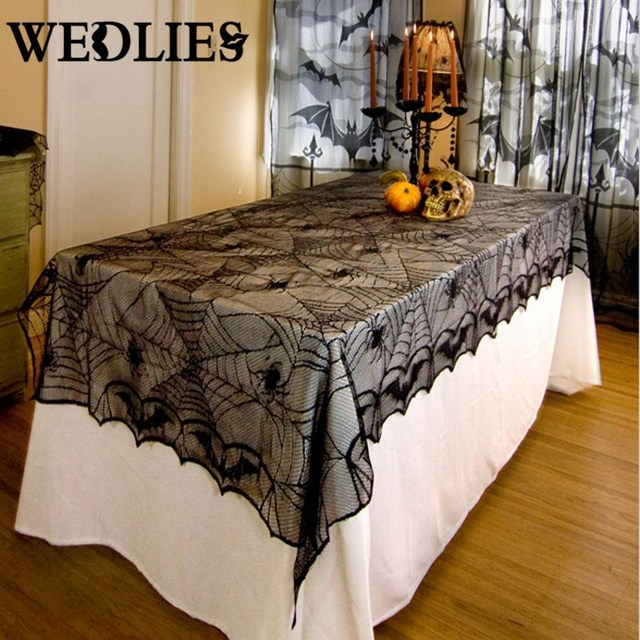 Charmant Black Lace Halloween Tablecloth Spider Net Table Runner Mantle Backdrop  Halloween Party Events DIY Decoration Textiles