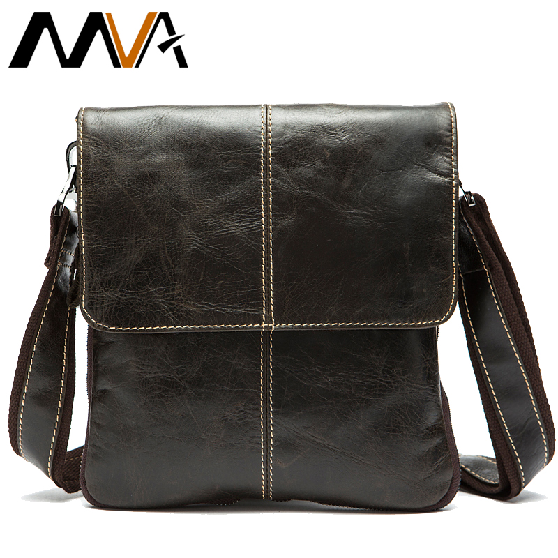 MVA Men's Shoulder Bag For Men Oil Leather Small Messenger Bag Men's Genuine Leather Crossbody/males Bags For Men Handbag  8006