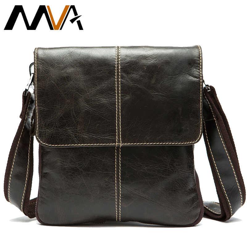 MVA Pria Tas Bahu untuk Pria Kulit Minyak Kecil Messenger Bag Pria Kulit Asli Selempang/Laki-laki Tas untuk Pria Tas Tangan 8006
