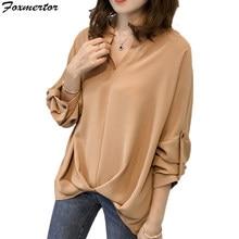8677748f1f4 Осенняя винтажная женская шифоновая блузка с v-образным вырезом с длинным  рукавом Женская Туника Повседневная