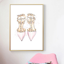 Ballet Girl Paris Perfume Rivet Shoes Wall Art Canvas Painting Nordic Posters And Prints pictures For Living Room Decor