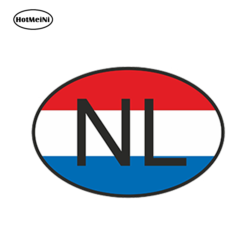 HotMeiNi 13 x9.1cm Car Styling Nl Netherlands Country Code Oval With Flag Car Sticker Waterproof Bumper And Windows Accessories argentina ra for republica argentina in spanish and argentinian flag car bumper sticker decal oval