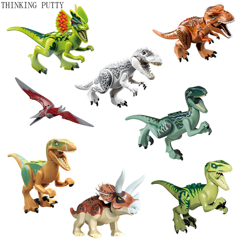 8pcs/set Jurassic World Dinosaurs Figures Building Blocks Tyrannosaurus Toys For Children Gift Lepin Compatible with legoeINGly 2 sets jurassic world tyrannosaurus building blocks jurrassic dinosaur figures bricks compatible legoinglys zoo toy for kids