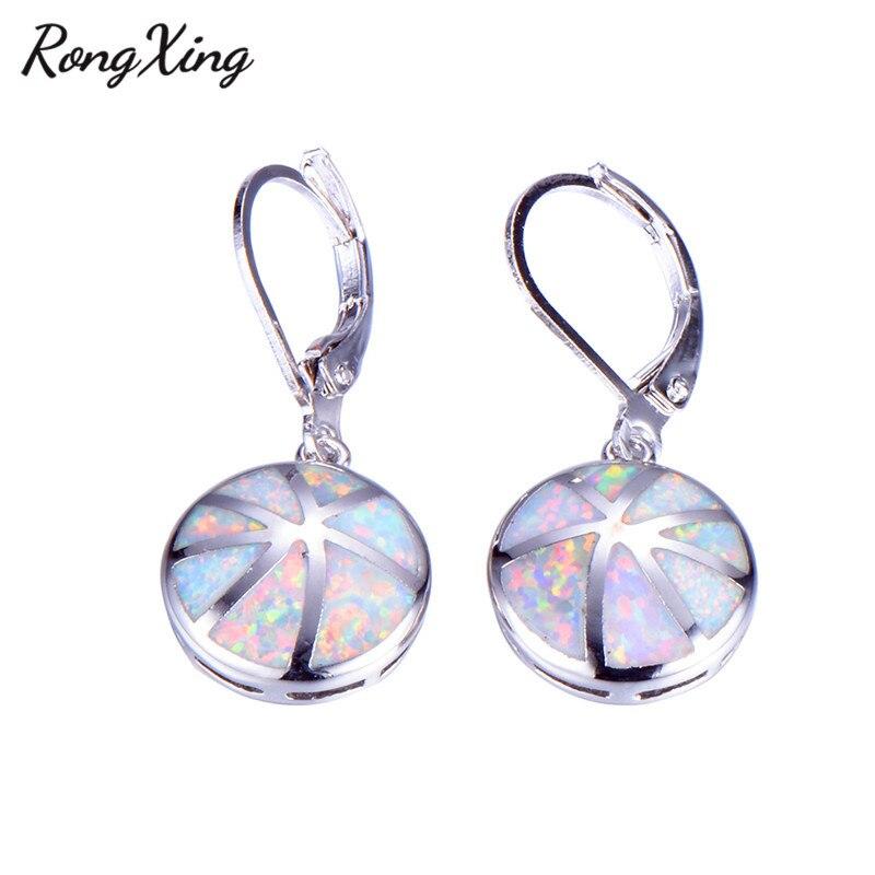 RongXing Retro Blue/White Fire Opal Drop Earrings 925 Sterling Silver Filled Round Rainbow Dangle Earrings Wedding Jewelry Gift