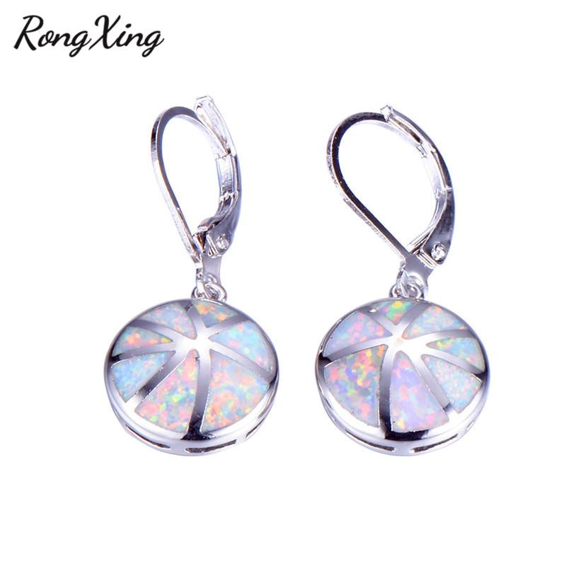 RongXing Retro Blue White Fire Opal Drop Earrings 925 Sterling Silver  Filled Round Rainbow Dangle Earrings Wedding Jewelry Gift -in Drop Earrings  from ... 4d45b9305364