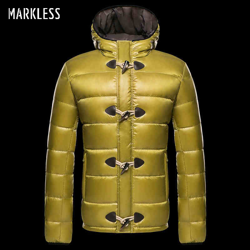 Markless 2018 Men's   Down   Jackets Brand Clothing Mens Casual White Duck   Down   Hooded   Coats   Male Fashion Outerwear   Down     Coats