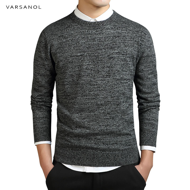 Varsanol Brand Clothing New Sweater Men's Long Sleeve Coat Solid Cotton Men Pullovers Sweaters O-Neck Knitted Casual Male Top3XL