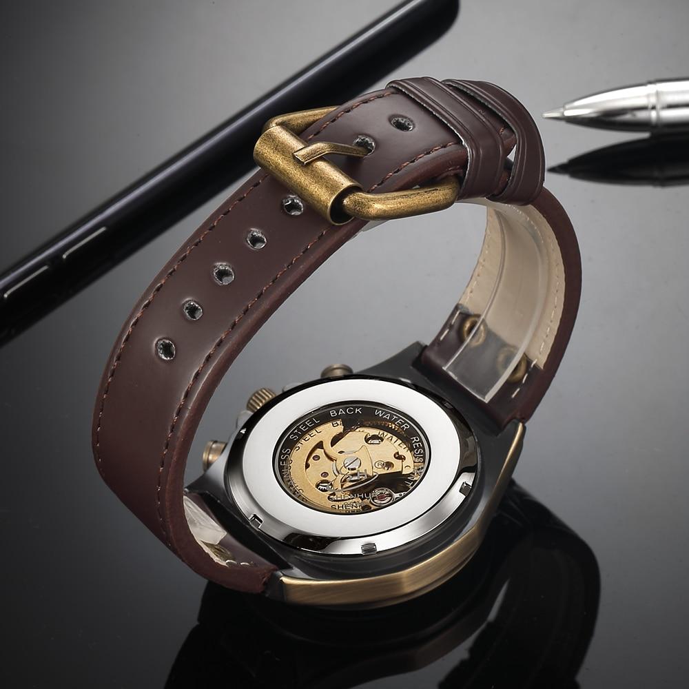 HTB1u2mNXtjvK1RjSspiq6AEqXXaB Steampunk Bronze Automatic Watch Men Mechanical Watches Vintage Retro Leather Transparent Skeleton Watch Man Clock montre homme