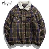 Plegie Vintage Plaid Thick Jackets Men 2018 Winter Warm Street Wear Windbreaker Harajuku Hip Hop Couple Outwear Jacket Coats