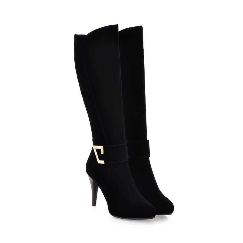 ESVEVA 2018 kadın botları sıcak kısa peluş bayanlar moda ayakkabılar ince yüksek topuklu diz yüksek çizmeler akın kış kar botları boyutu 34-39