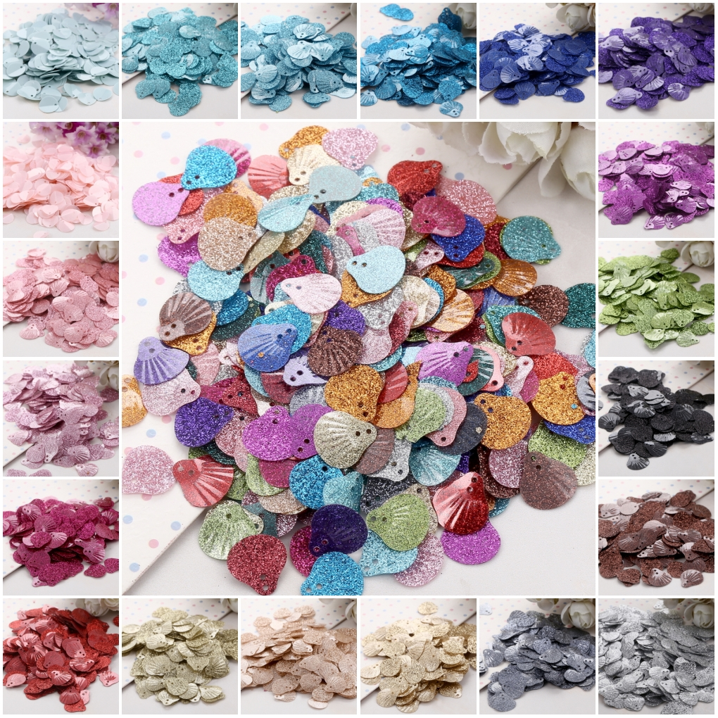 Sequin 13mm Sea Shell Shape Pvc Loose Sequins Paillettes Sewing Embellishment Wedding Craft Women Cloth Accessory 15g
