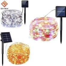 في الهواء الطلق تعمل بالطاقة الشمسية 33Ft 100 LED 10 متر مصباح سلك النحاس سلسلة دافئ أبيض ملون أبيض مقاوم للماء آمنة استخدام الجنية حفلة عيد الميلاد