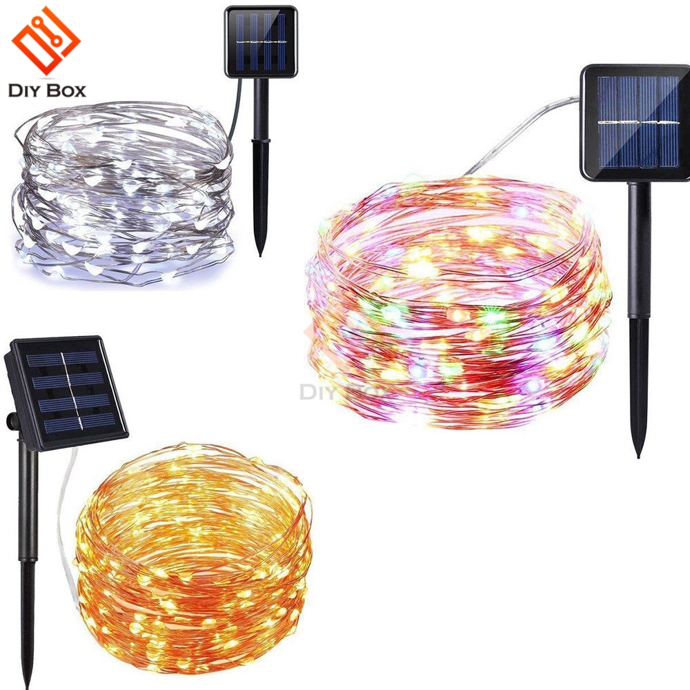 Outdoor <font><b>Solar</b></font> <font><b>Powered</b></font> 33Ft 100 <font><b>LED</b></font> 10M Kupfer Draht Licht String Warm Weiß Bunte Weiß Wasserdichten safe verwenden Fee xmas Party image