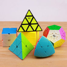 купить Qiyi megaminxeds puzzle magic speed cube pyramidcube stickerless professional special shape mirror pyramid cubo magico wholesale по цене 338.03 рублей