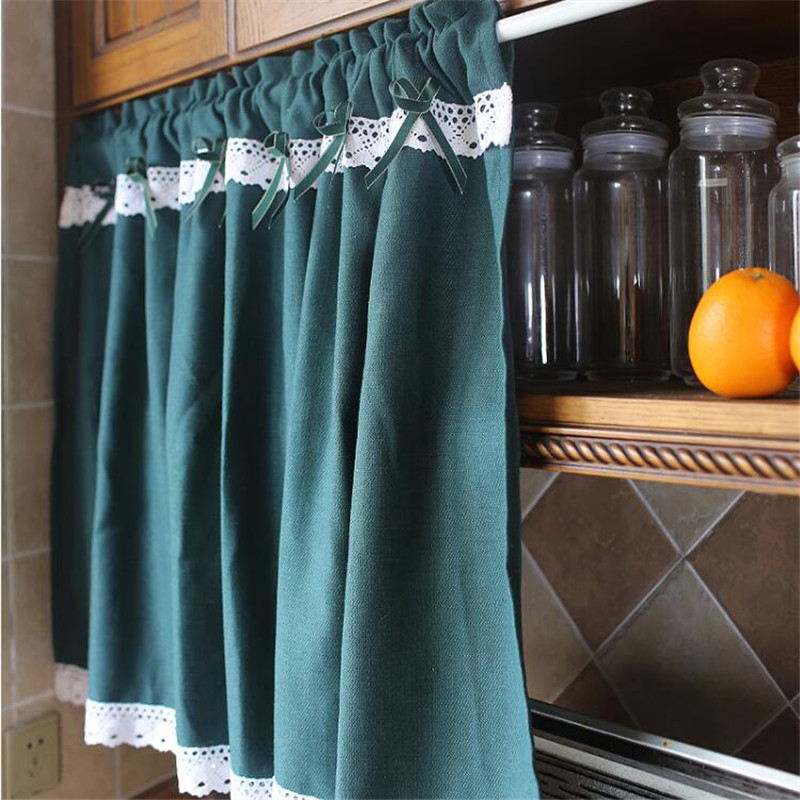 US $22.4 17% OFF|Free Shipping pastoral green half Curtain lace Coffee  Curtain Kitchen Short Curtain Small Curtain for Home window decoration-in  ...