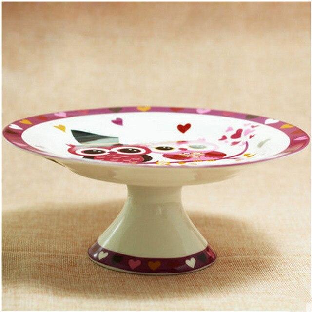 Cartoon Creative Ceramic Plate Stands Handpainted Owl Dish Platter Decorative Pan 8 Inch Bone China Ceramic & Cartoon Creative Ceramic Plate Stands Handpainted Owl Dish Platter ...