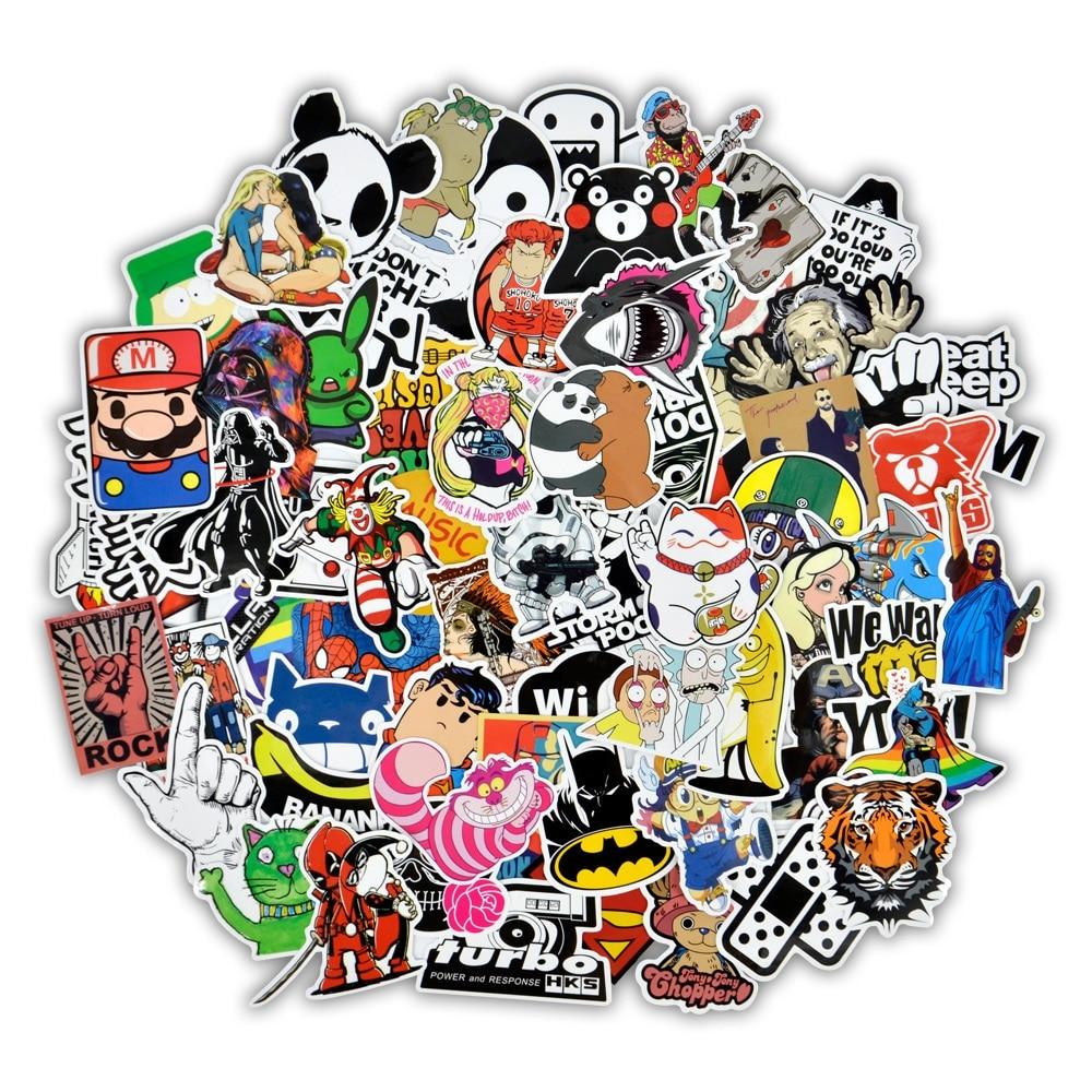 Klassische Spielzeug Aufkleber Sammlung Hier 50 Stücke Mischte Cartoon Spielzeug Aufkleber Für Auto Styling Bike Motorrad Telefon Laptop Reise Gepäck Coole Lustige Aufkleber Bombe Jdm Decals