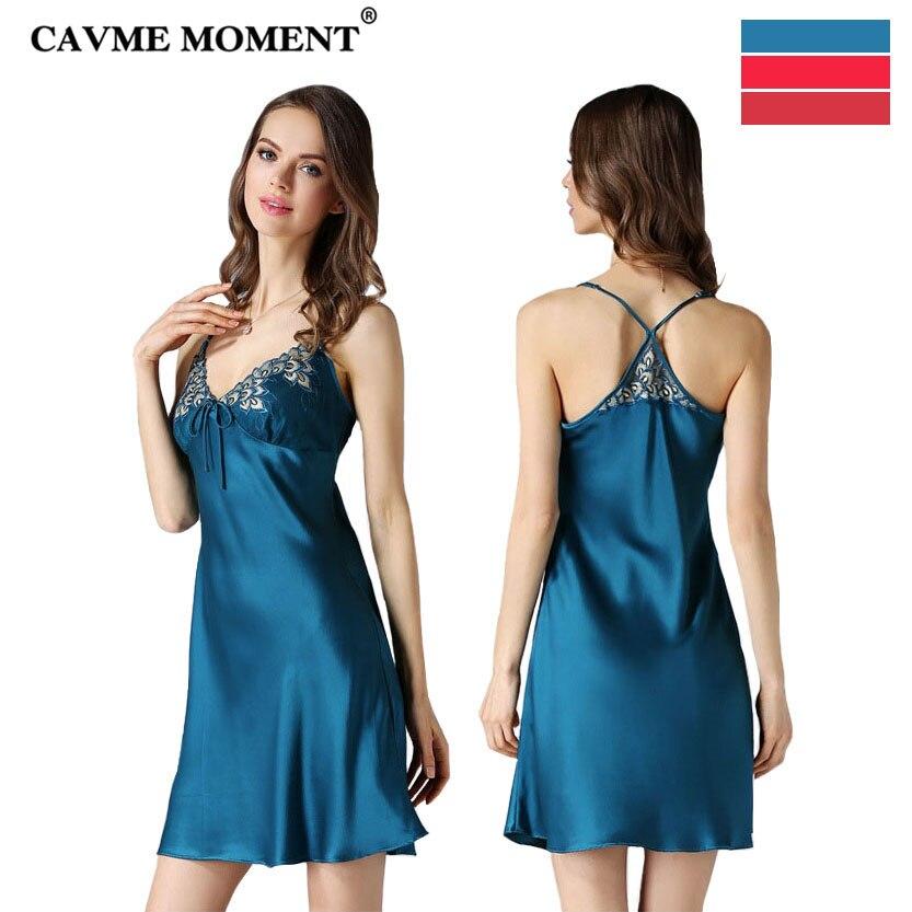 CAVME 2019 Luxury Silk Nightgown Women's Sexy Lace Spaghetti Strap Sleepshirt Solid Color Plus Size Sleepwear Mini Nightdress