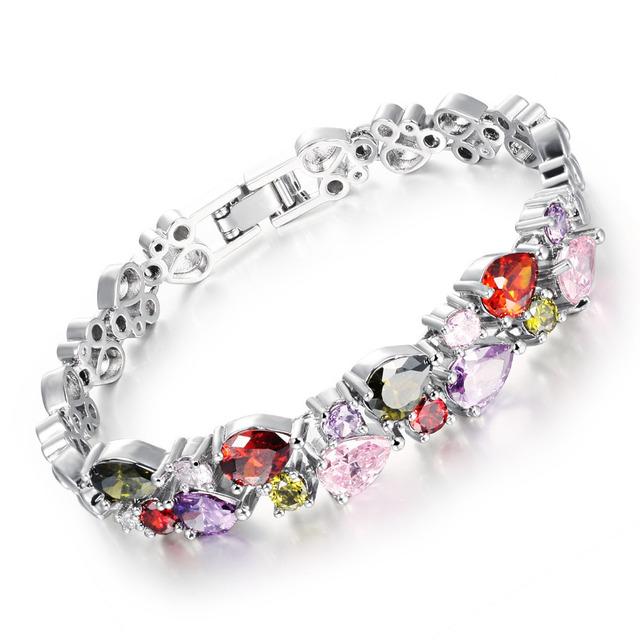 Mona Lisa Multi Color Cubic Zirconia Woman Bracelets Heart Design Gold Color /Silver Color Charm Link Chain Jewelry 950