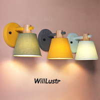 Willlustr macaron color fabric shade wall lamp oak wood iron arm wall sconce bedside kitchen hotel restaurant light yellow green