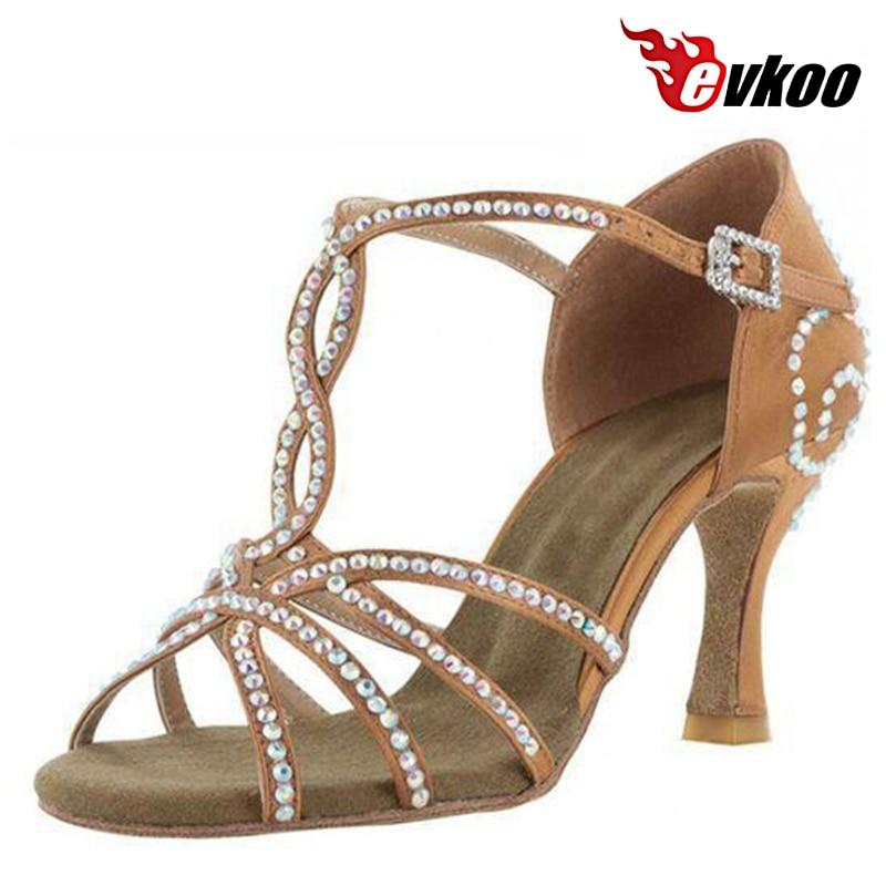 Evkoodance Salsa Latin Dancing Shoes For Woman Satin With Rhinestone 8cm Heel 2016 Hot Sale Dance Shoes Evkoo-055