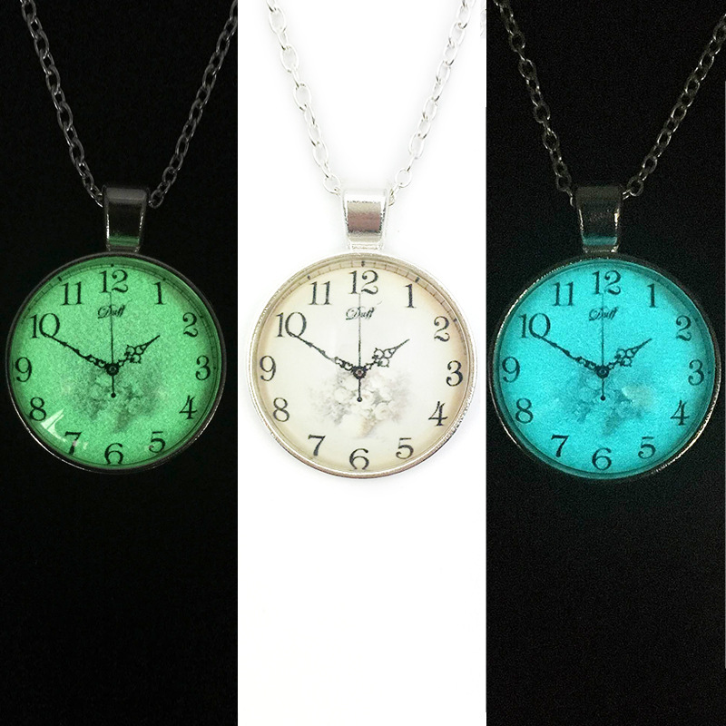 Fashion 2016 Glow time gem Book worm LOVER watch necklace pendant necklace silver jewelry necklace crystal pendant personality