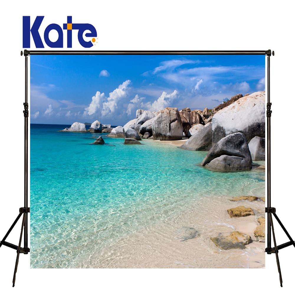 Kate Fotohintergrund 8x8ft Blau Meer Strand Hintergrund Neugeborenen - Kamera und Foto - Foto 1