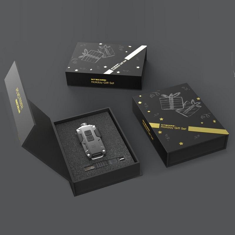 SALE! NITECORE 10th Holiday Gift Set TIP Metal Micro USB Rechargeable Key Button Light + Clip mini EDC small Flashlight 5 colors