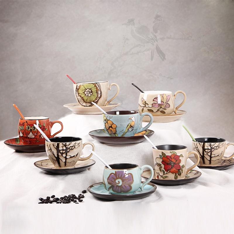 1 Set stoneware ceramic coffee cups Coffee cup dish set coffee tea cups and saucer set ceramic coffee drinkware & 1 Set stoneware ceramic coffee cups Coffee cup dish set coffee tea ...