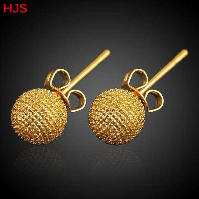 Small Size Ethiopian African Round Stud Earrings For S 18k Real Gold Plated 7mm