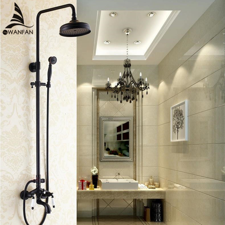Shower Faucet Black Brass Bathroom Mixer Double Switch Exposed Shower FaucetS Hot and Cold Mixer Tap with Slide Bar SY-001R
