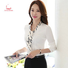 Spring and autumn white shirt long sleeve professional dress Korean version chiffon bottom