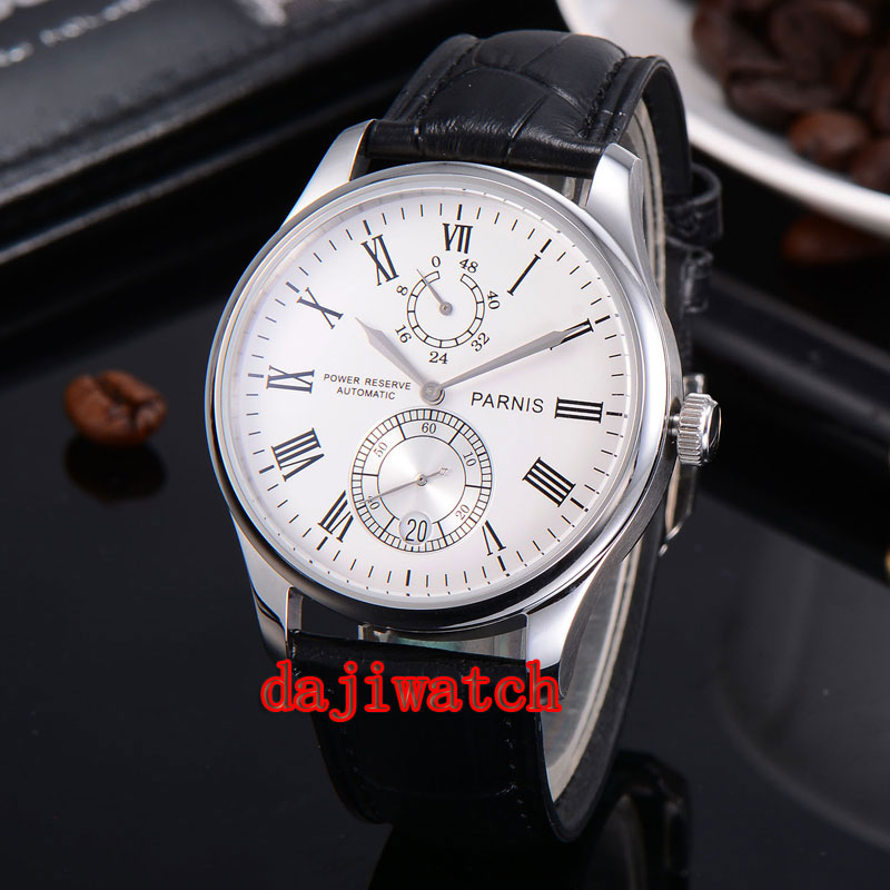 Parnis 43mm Mechanical Power Reserve Leather Date Automatic mechanical Mens Wrist Watch white/black PN164