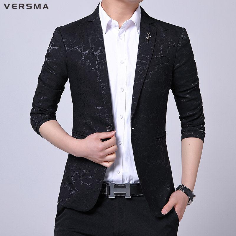 VERSMA Spring Korean Slim Fit Mens Casual Business Blazer Jacket Men Latest Design Camouflage Men Suit Jacket Coat Blazers Suits